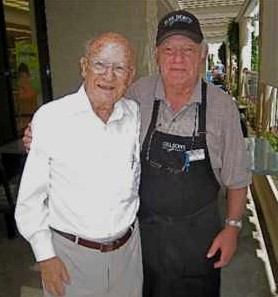 Hans Georg Stern (left) and Fred Wolf at Gelson's Supermarket in Los Angeles