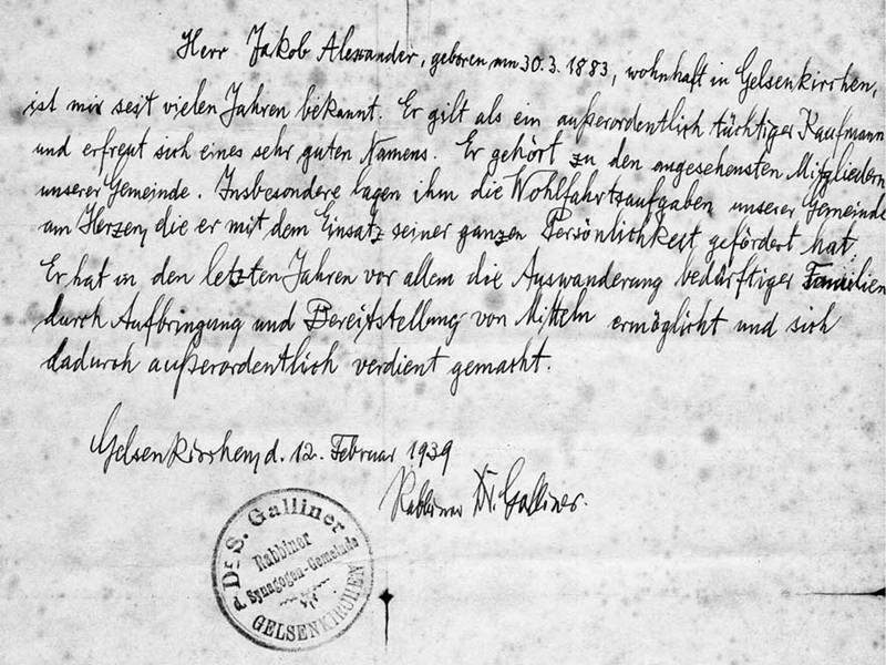 Letter of reference for Jakob Alexander from Rabbi Dr. Siegfried Galliner Germany, Gelsenkirchen, February 1939